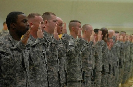 Military enlistees affirm that they will defend the U.S. Constitution