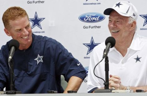 "Dallas Cowboys head coach Jason Garrett and owner Jerry Jones in happier times when hope sprang eternal for ""America's Team""."
