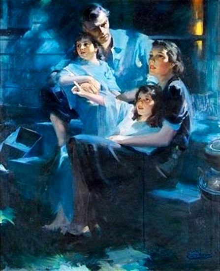 "Rico Tomaso's rendering of a ""Family Sitting on the Back Porch"""
